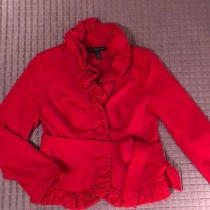 Incredible red ruffle blazer